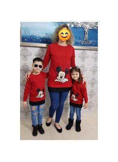 Quzucuk Kids Anne & Çocuk Kırmızı Figürlü Sweatshirt Kırmızı